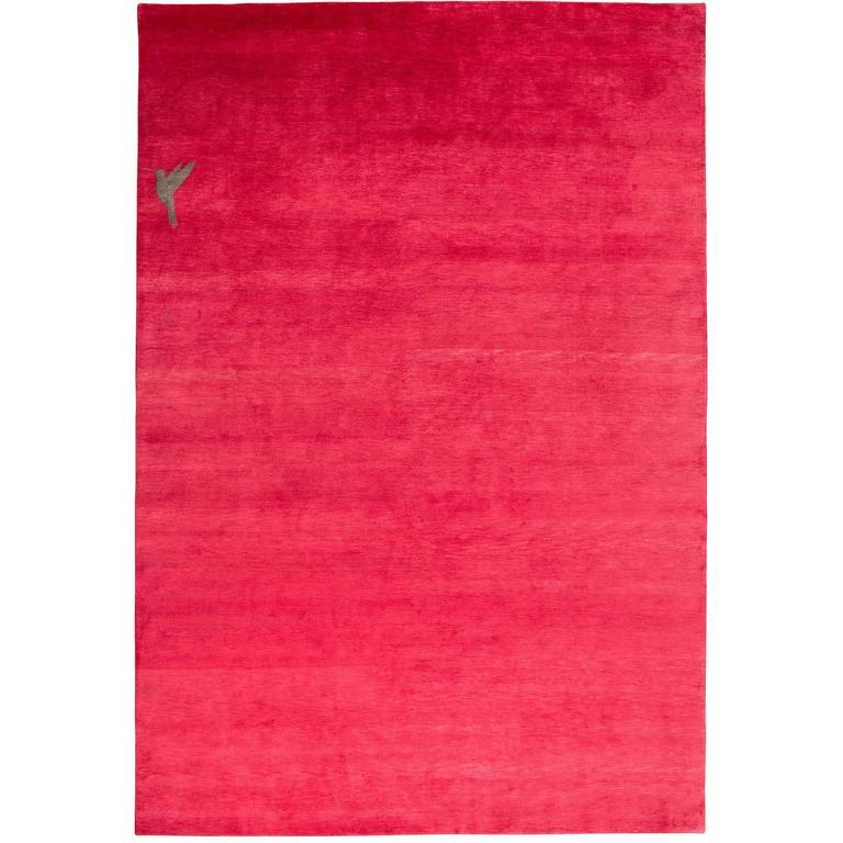 Hot Pink Silk Area Rug with Hummingbird By CARINI