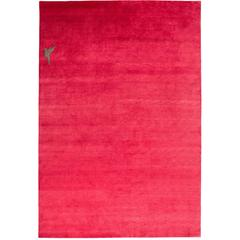 Hot Pink Silk Area Rug with Hummingbird