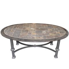 Stone Top Steel Base Coffee Table, France, Mid-Century