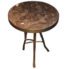 Taupe Round Marble-Top Side Table, Belgium, Contemporary
