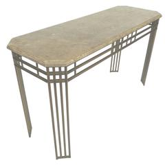 1980s Mastercraft Style Console Table with Fossilized Stone Top