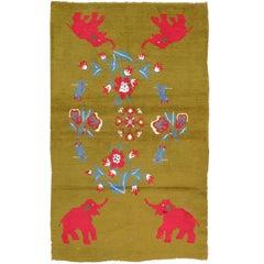 Midcentury Swedish Handmade Green Pictorial Rug With Elephants and Teddy Bears