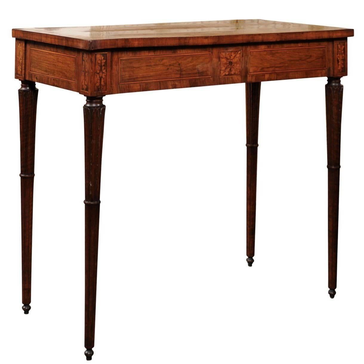 Italian 18th Century Walnut Console Table With Inlaid Top And Carved Fluted  Legs 1