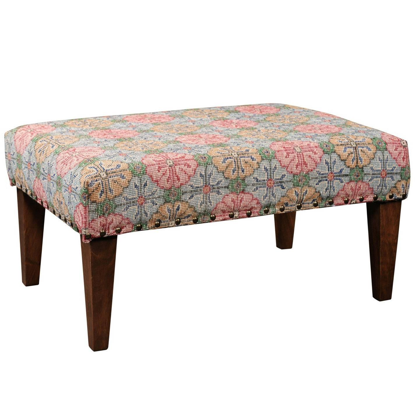 Upholstered Ottoman Made Of Midcentury Colorful Turkish Rug Over Custom  Base For Sale