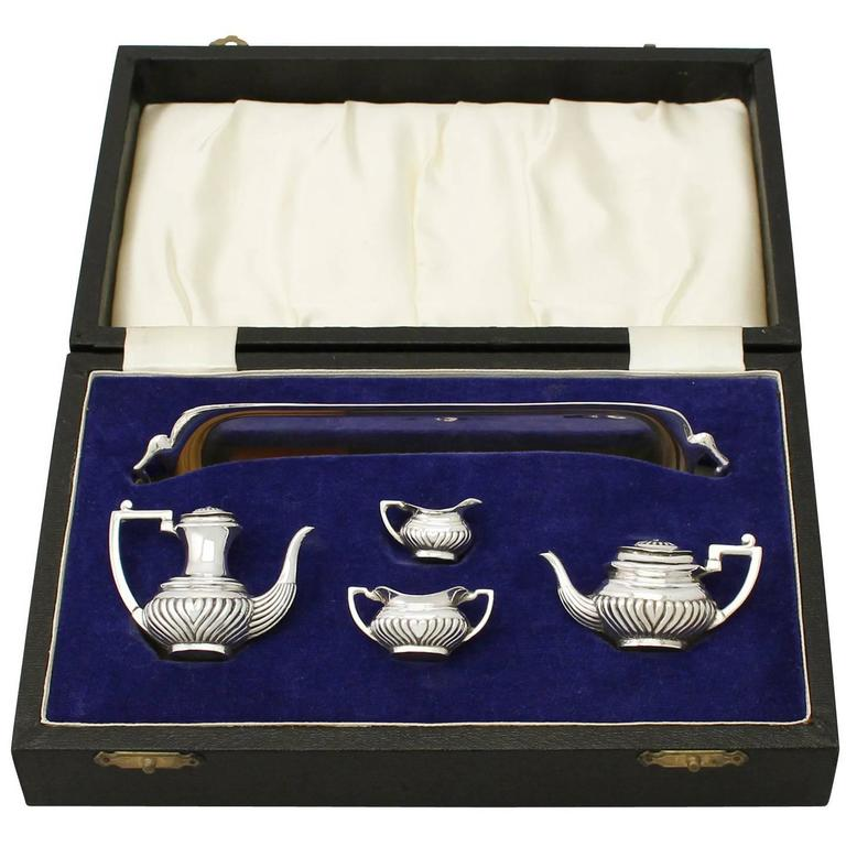 1970s Sterling Silver Boxed Miniature Tea and Coffee Service with Tray