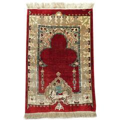 Early 20th Century Turkish All-Silk Hereke Rug