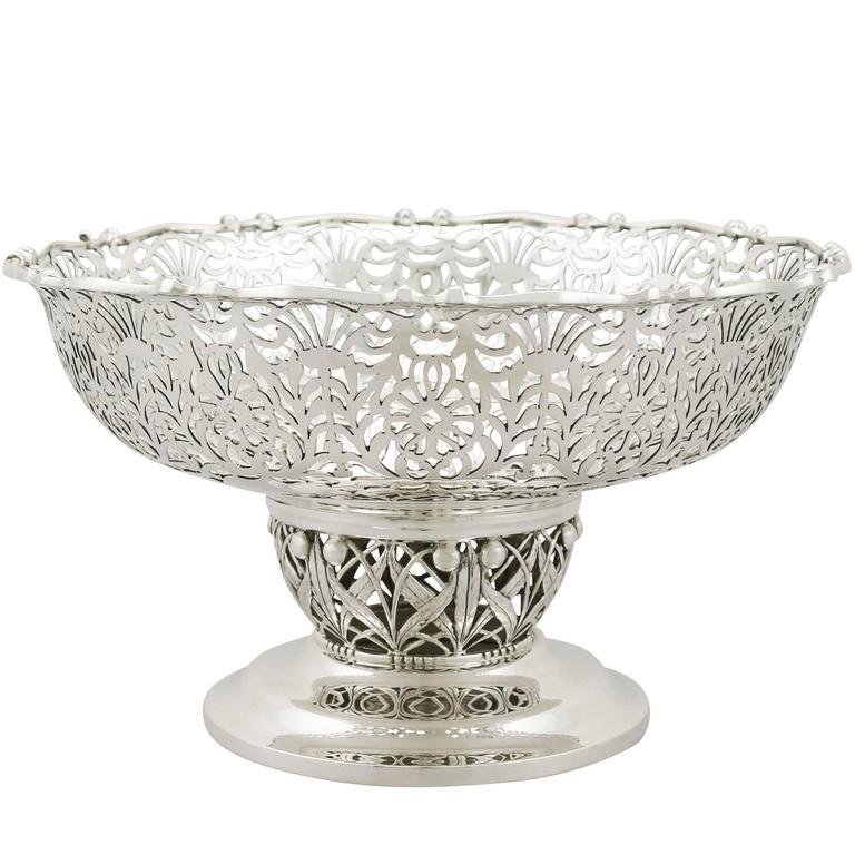 1920s Antique Sterling Silver Centerpiece / Fruit Bowl
