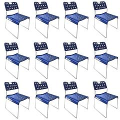 1971, Rodney Kinsman, Set Blue Omstak Stacking Chairs