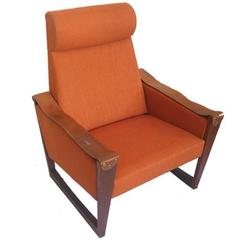 Danish High Back Leather and Fabric Armchair