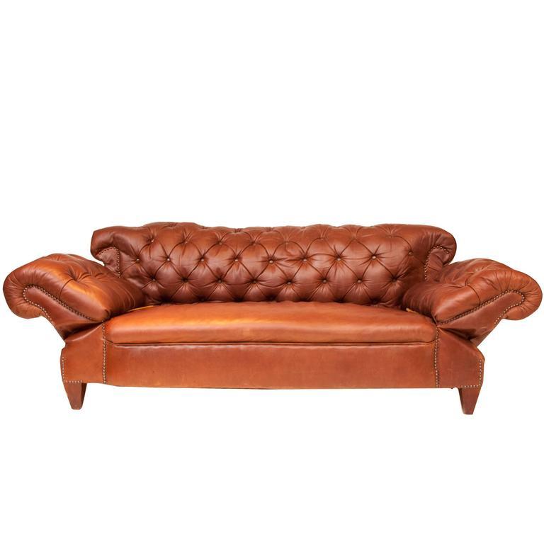 Antique Drop Arm Sofa: Edwardian Double Drop Arm Brown Leather Sofa/Chesterfield