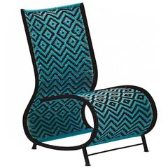 Moroso Toogou Chair for Outdoors in Blue Steel by Ayse Birsel & Bibi Seck