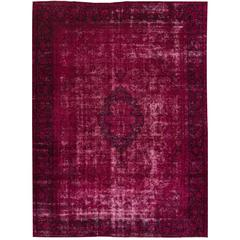 Nice Looking Vintage Distressed Overdyed Rug