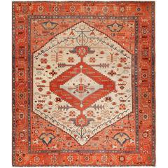 Ivory Antique Serapi Persian Rug