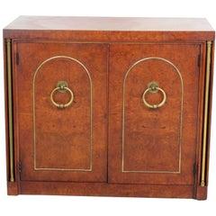 Mastercraft Style Burl Walnut and Brass Two-Door Cabinet