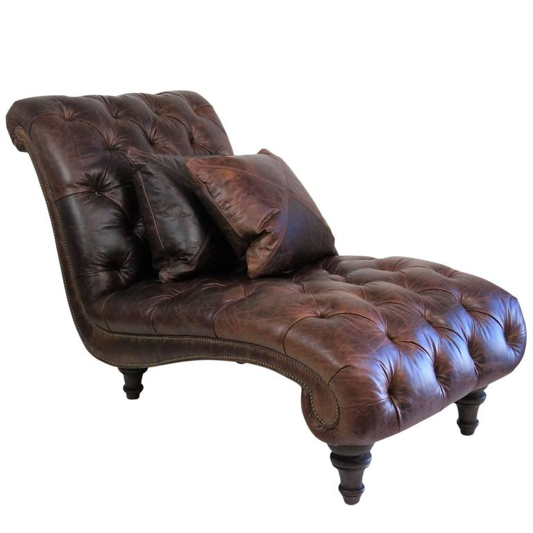 Brown leather tufted chaise lounge for sale at 1stdibs for Brown leather chaise lounge