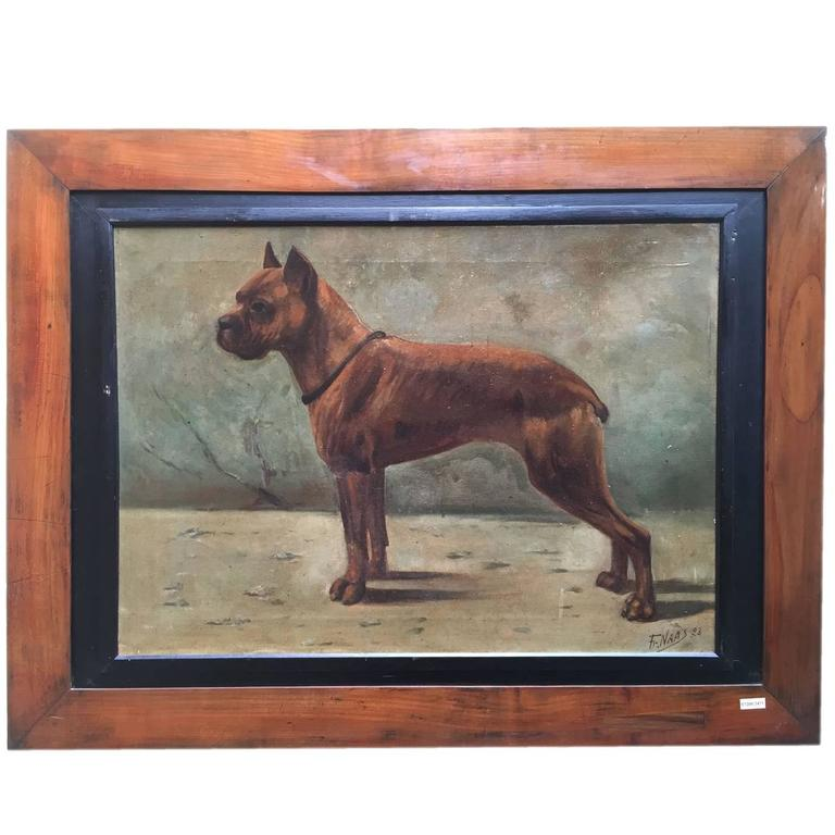 Boxer Dog Painting by Fr.Naas, Dated 1923, Oil on Canvas French Painting