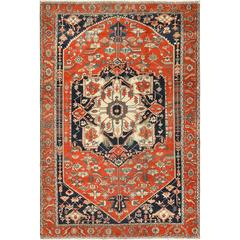 Antique Red Serapi Persian Rug