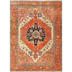 Antique Ivory Background Serapi Persian Rug
