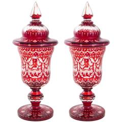 19th Century Bohemian Ruby Glass Urns