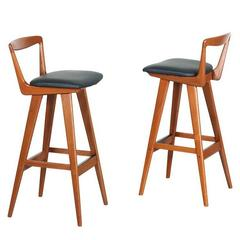 Pair of Henry Rosengren Hansen Teak Bar Stools for Brande Møbelindustri