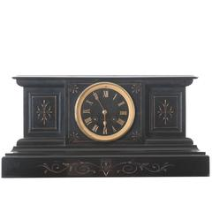 French Black Marble and Brass Mantel Clock