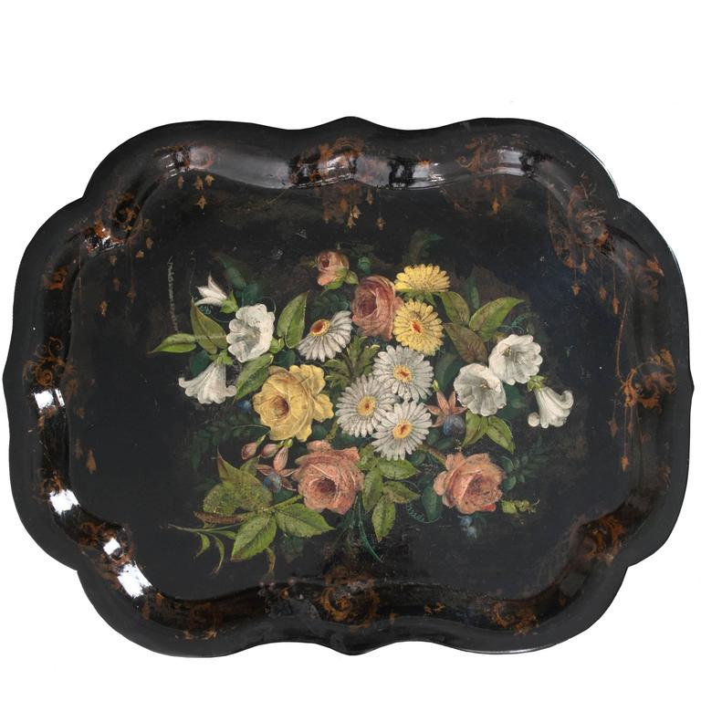 English 19th Century Papier Mâché Gilt and Painted Tray