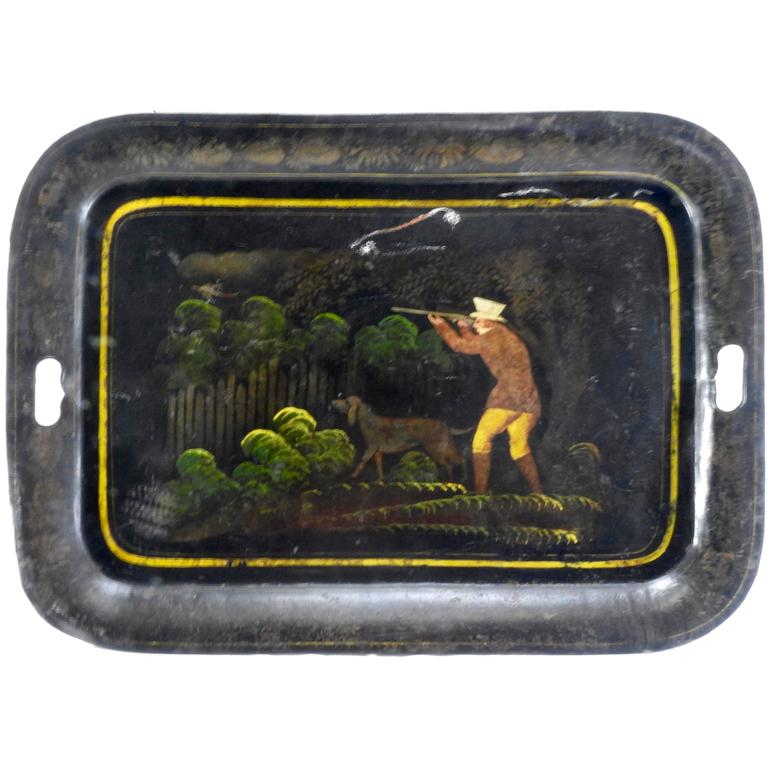 1800s New England Tableware Tray with Hunt Scene For Sale