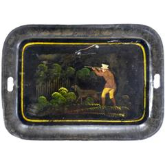 1800s New England Tableware Tray with Hunt Scene