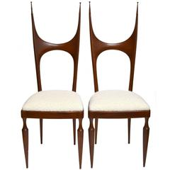 Pozzi and Verga Sculptural Wooden Chairs, Italy, 1950, Pair