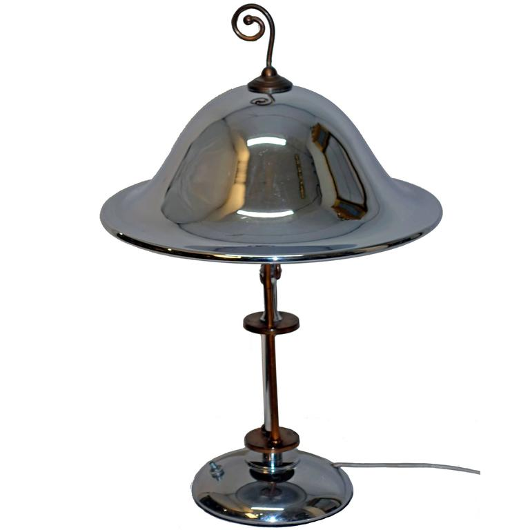 Art Deco Chrome and Copper Lamp, American 1920's-1930's