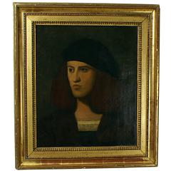 Italian Renaissance Style Portrait of a Young Man ex Fogg Museum Later Frame