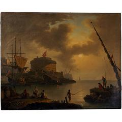 Fortress on Malta with Ships and People 18th Century Oil Painting, circa 1780