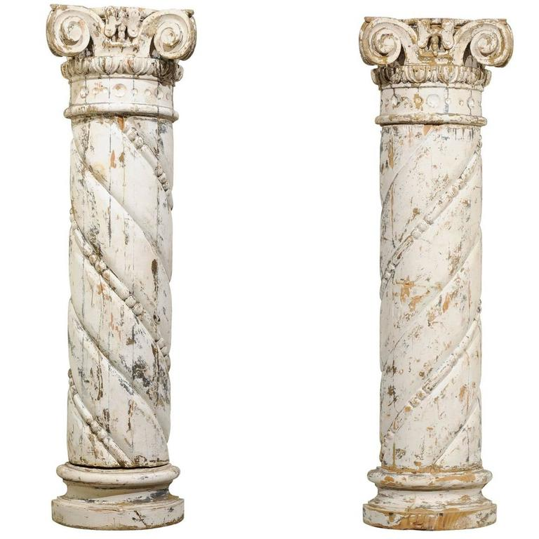 Pair of 18th Century Carved Wood White Columns, circa 1790