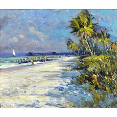 'Tropical Beach' Florida Impressionism by Robert C. Gruppe, American
