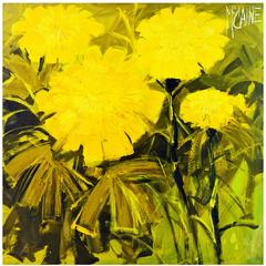 Mid-Century Modern Oil Painting of Yellow Flowers by McCaine Palm Springs Artist