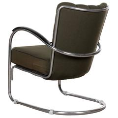 W.H. Gispen Easy Chair Model 412 with Forest Green Fabric, Netherlands, 1932