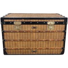 1870 Louis Vuitton Stripped Canvas Steamer Trunk