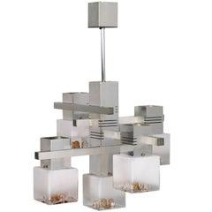 "Metal Chrome Chandelier ""Cubic"" by Gaetano Sciolari for Mazzega Murano-Glass"