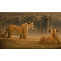 """Game Plan"" Cape Town Buffalo and Lion Painting by Anna Widmer"