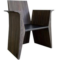 Contemporary All Wood and Plexiglass Armchair, Limited Edition Series