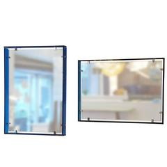 Fontana Arte Matched Pair of Wall Mirrors with Floating Blue Glass Frames