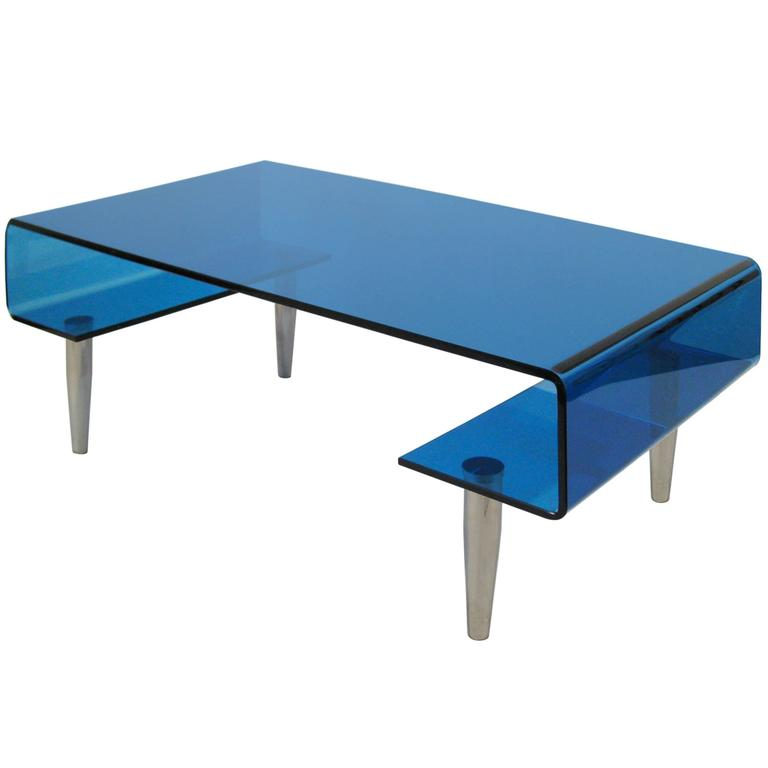 Coffee Table, Tempered Blue Crystal and Aluminium. Italy, circa 1980 1