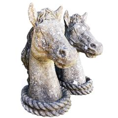 19th Century Pair of French Antique Horses Heads Statues