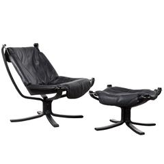 Falcon Black Leather Lounge Chair by Sigurd Ressel for Vatne Møbler, Norway