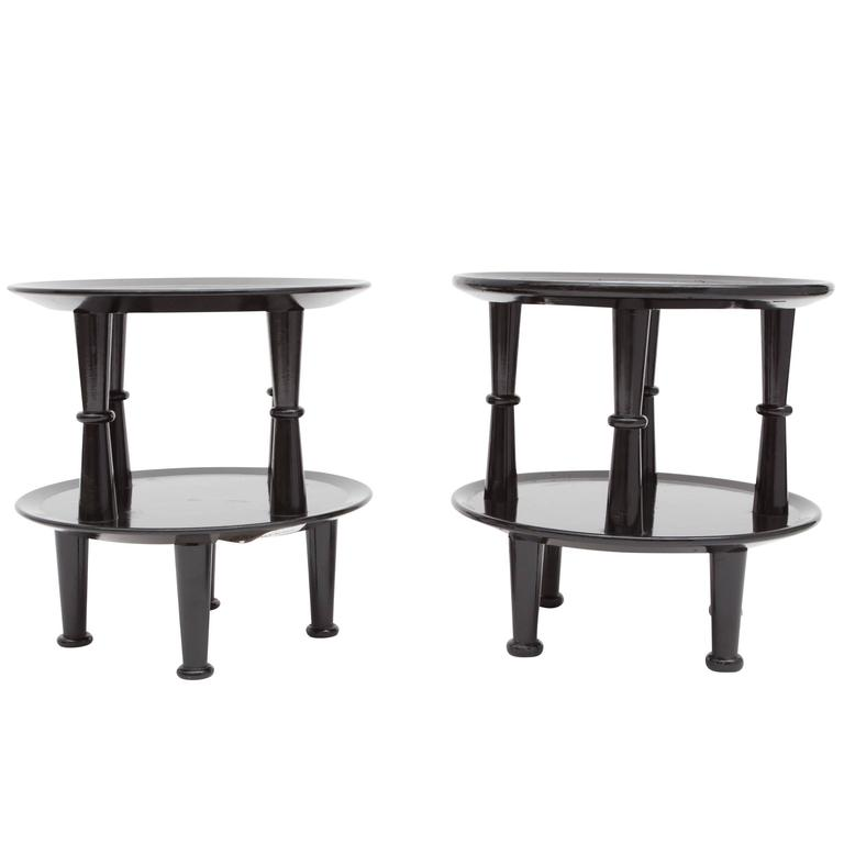 Pair of Italian Black Lacquered Side Tables