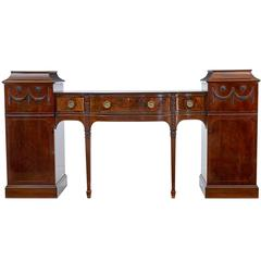 19th Century Carved Mahogany Pedestal Sideboard in the Adams Taste