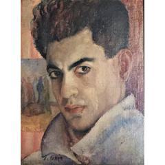 J. Cohen, Portrait of a Man, Oil Painting, circa 1950s