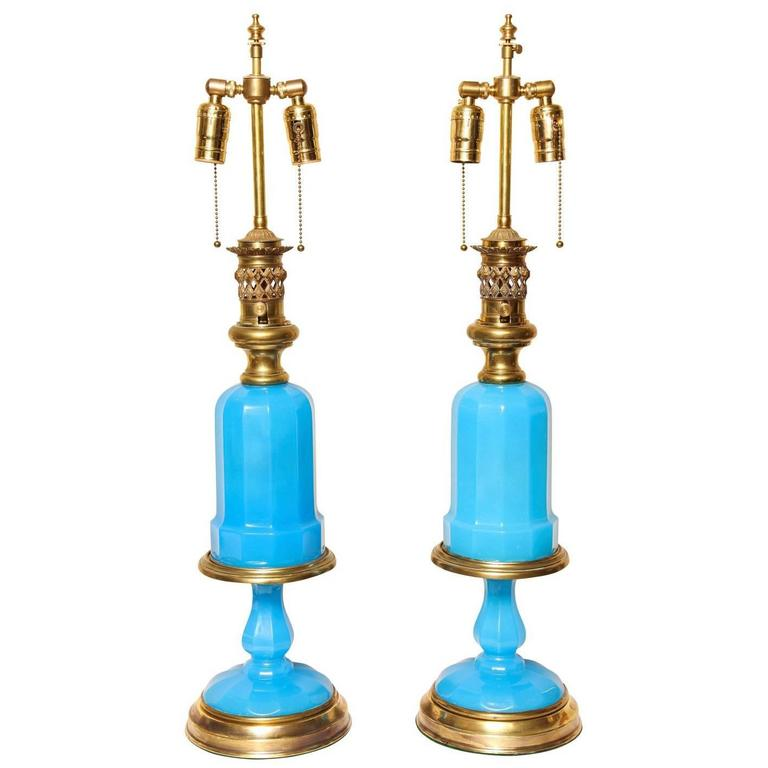 Pair of French Opaline Oil Lamps For Sale