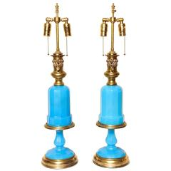 Pair of French Opaline Oil Lamps