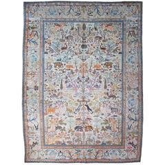 Antique Tabriz Pictorial Carpet